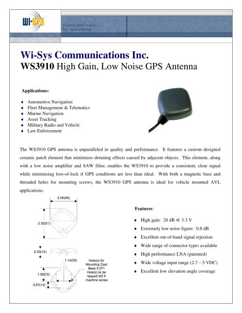 Wi-Sys Communications Inc  WS3910 GPS Antenna - Farnell