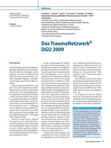 Das TraumaNetzwerk D DGU 2009 - Universitätsklinikum Gießen