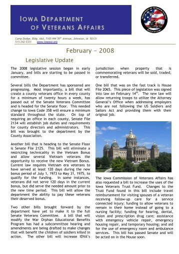 February 2008 Newsletter - Iowa Department of Veterans Affairs