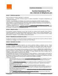 Contrat Assistance Pro. net, internet et téléphone pro - Orange mobile
