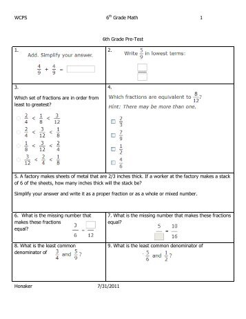 5th grade math pretest pdf