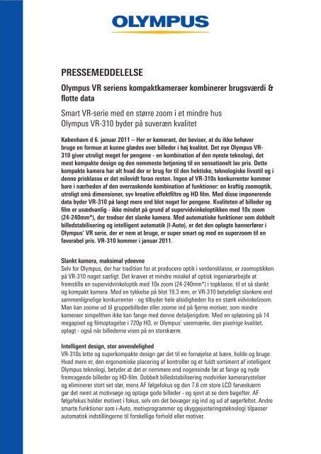PRESSEMEDDELELSE Olympus VR seriens ... - PressWire