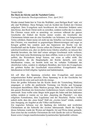 Tomáš Halík Der Rock der Kirche und die Nacktheit Gottes Vortrag ...