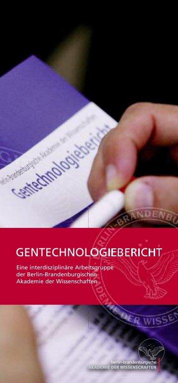 Broschüre der Arbeitsgruppe - Gentechnologiebericht