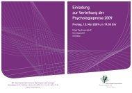 Einladung zur Verleihung der Psychologiepreise 2009