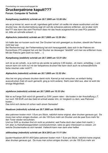 Druckerpatrone kaputt??? - Studentenportal pruefungsgeil.de