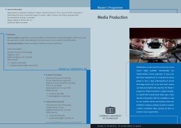 "Media Production"" (B.sc.) from Chemnitz University of Tec"