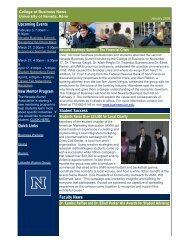 Spring 2009 Newsletter - College of Business - University of Nevada ...
