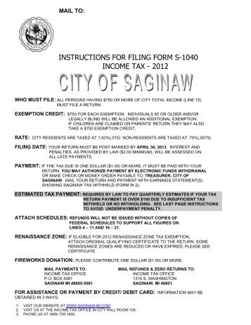 Instructions For Filing Form S 1040 Income Tax 2009 City Of