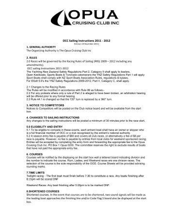 OCC Racing Rules for 2011-2012 - Opua Cruising Club