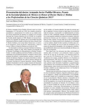 Presentación del doctor Armando Javier Padilla Olivares, Premio de ...