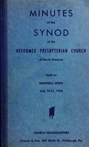 Reformed Presbyterian Minutes of Synod 1954