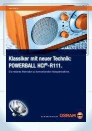 Klassiker mit neuer Technik: POWeRBaLL hci®-R111. - Leuchtstark