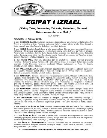 EGIPAT I IZRAEL EGIPAT I IZRAEL - Kontiki