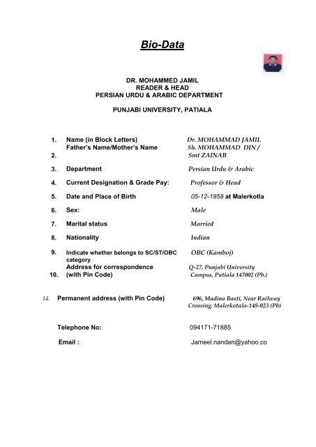 punjabi university patiala thesis format