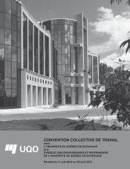 CONVENTION COLLECTIVE DE TRAVAIL - UQO