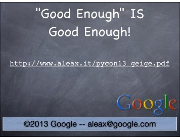 """Good Enough"" is good enough!"
