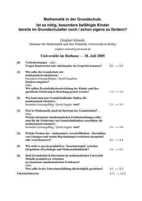Mathematik in der Grundschule - Seminar für Mathematik und ihre ...