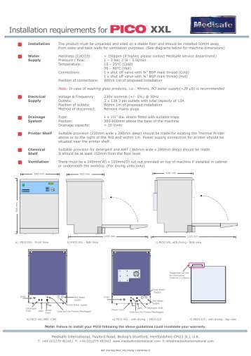 PICO XXL Installation Requirements - PROFI - dental equipment