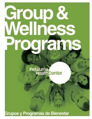 Grupos y Programas de Bienestar - Petaluma Health Center