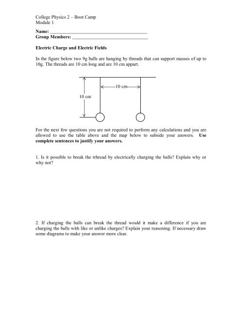College Physics 2 – Boot Camp Module 1 Name: Group Members: