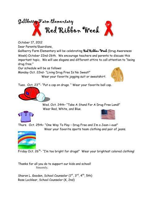 Red Ribbon Week Red Ribbon Week Gallberry Farms Elementary