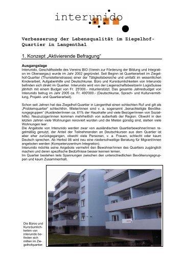 """Quartier in Langenthal 1. Konzept """"Aktivierende ... - interunido"""