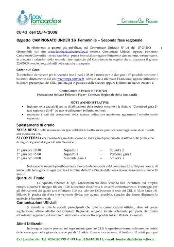 U16F - FIPAV - Comitato Regionale Lombardia - Federazione ...