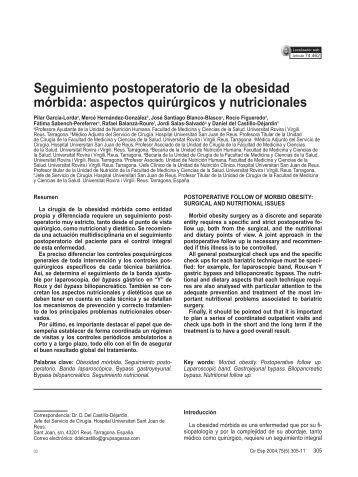 Seguimiento postoperatorio de la obesidad mórbida: aspectos ...