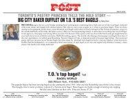 BIG CITY BAKER DUFFLET ON TO'S BEST BAGELS ... - Bagel World