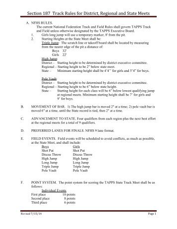 Section 187 Track Rules for District, Regional and State Meets - tapps