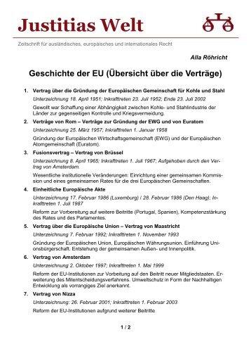 Geschichte der EU (Übersicht über die Verträge) (A ... - Justitias Welt