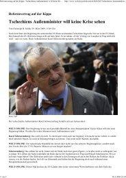 Tschechiens Außenminister will keine Krise sehen