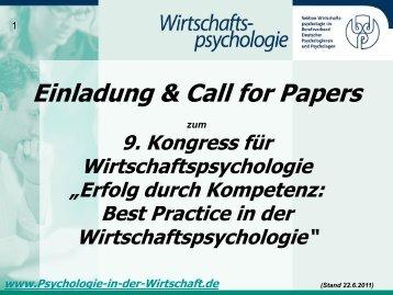 Call for Papers als PDF - 9. Kongress für Wirtschaftspsychologie