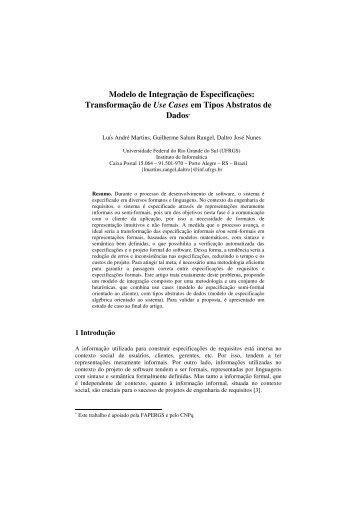 Modelo de Integração de Especificações: Transformação ... - WER