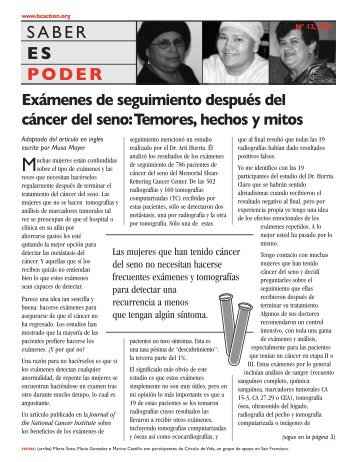 Edición No 12, 2004 - Breast Cancer Action Archive - Home