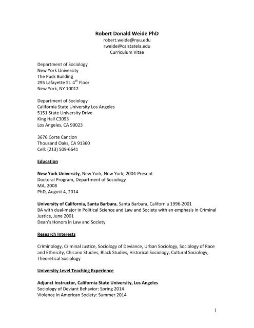 Robert Donald Weide - Department of Sociology - New York