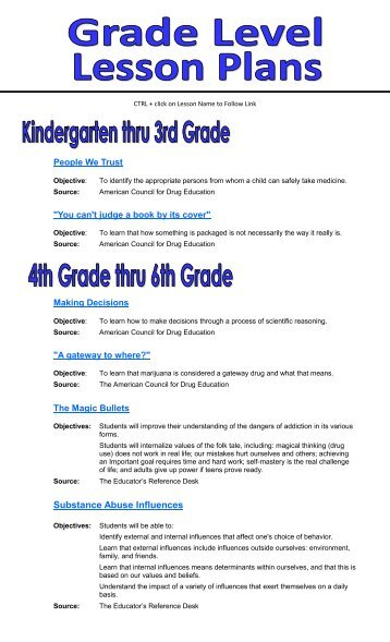 Age Appropriate Lesson Plans by Grade Level - CHI of Goodhue ...