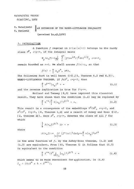 An extension of the Hardy-Littlewood inequality