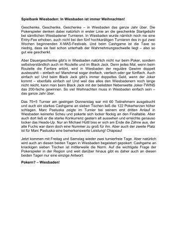 Donnerstagsturnier vom 21.11.2013 - Spielbank Wiesbaden