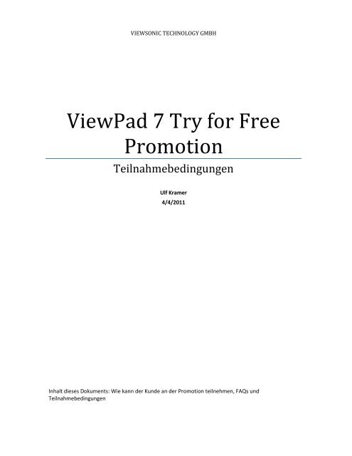 Viewpad 7 Try for Free Promotion