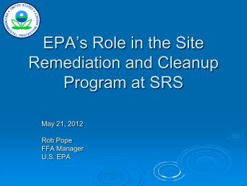 EPA's Role in the Site Remediation and Cleanup Program at SRS