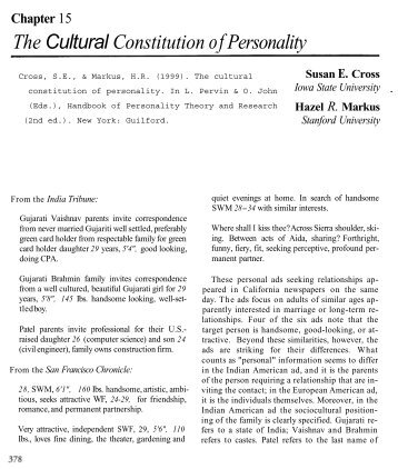 The Cultural Constitution of Personality - Iowa State University