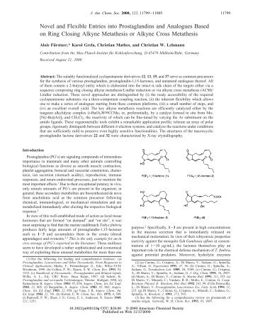 Novel and Flexible Entries into Prostaglandins and Analogues ...