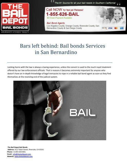 Bail bonds Services in San Bernardino