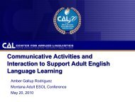 Communicative Activities and Interaction to Support ... - NW LINCS