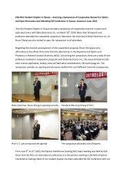 National Central University Taiwan Symposium - OSA