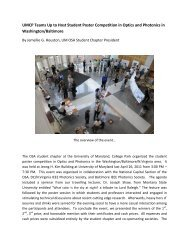 UMCP Hosts Student Poster Competition - OSA