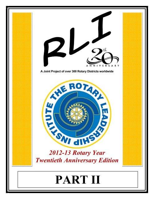 PART II - Rotary Leadership Institute
