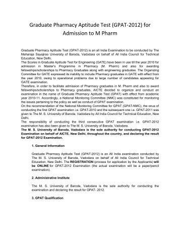 Graduate Pharmacy Aptitude Test (GPAT-2012 ... - Vidyavision.com